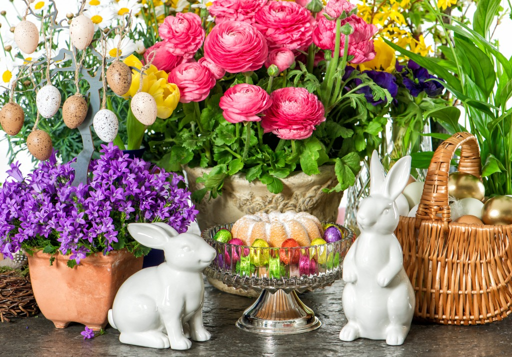 Easter Flowers, Eggs and Bunn