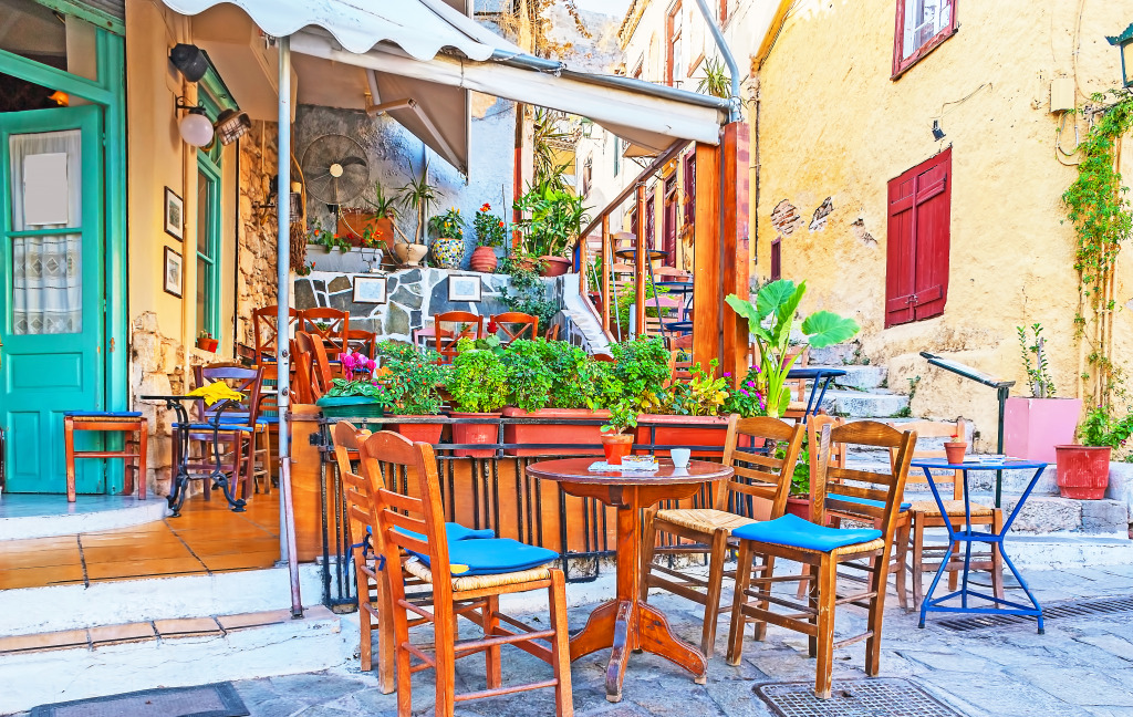 Street Cafe in Plaka, Athens, Greec
