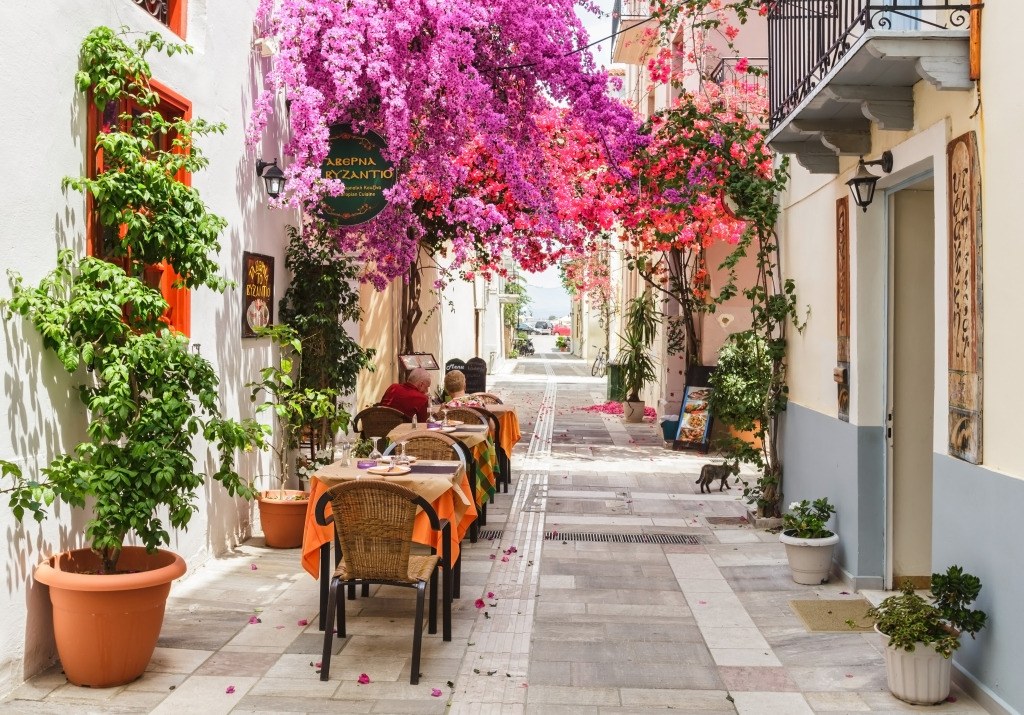 Street Restaurant in Nafplion, Greec