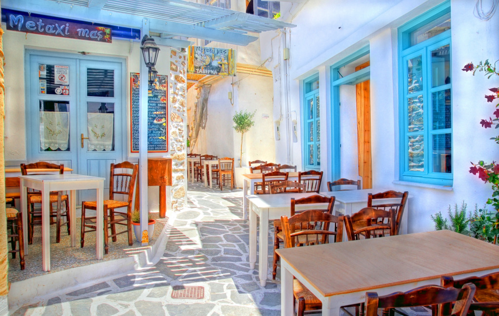 Street Restaurant in Paros, Greec