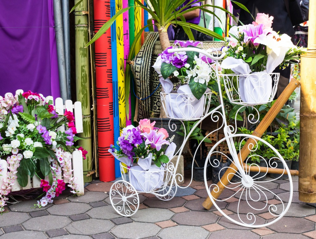White Bicycles With Flower